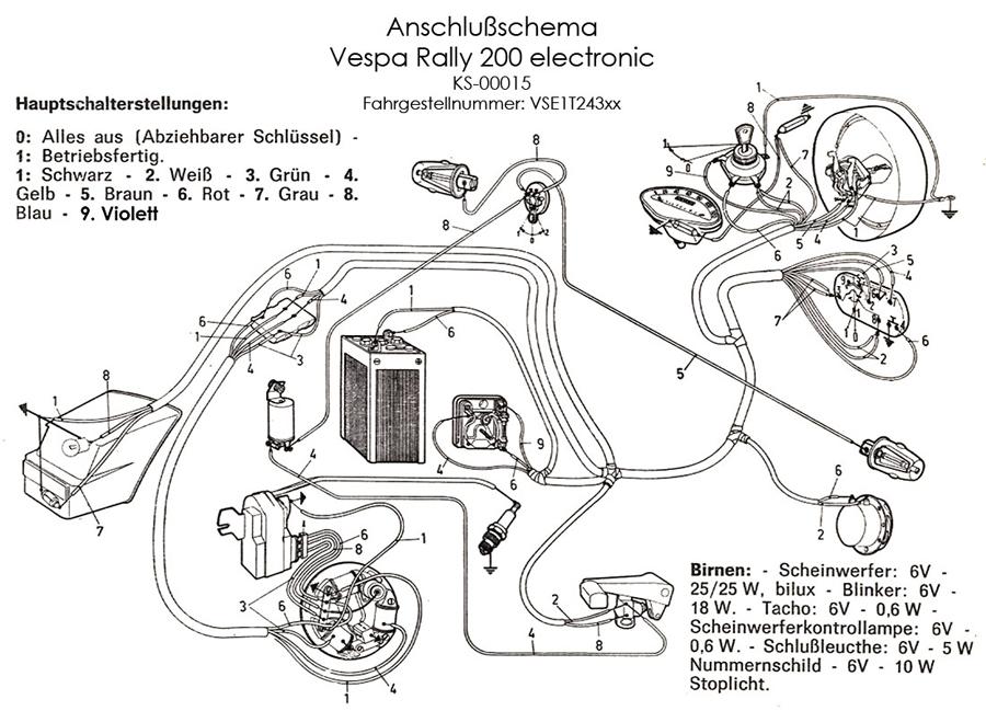 Wiring Diagram Vespa Px : Kabelbaum vespa rally electronic