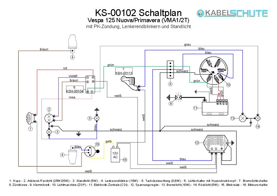 Wiring Harness Vespa 125 Primavera (VMA1/2T) Conversion
