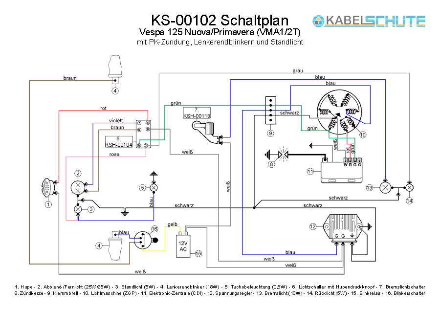 Vespa Stator Wiring Diagram : Vintage vespa stator wiring diagram ac induction motor