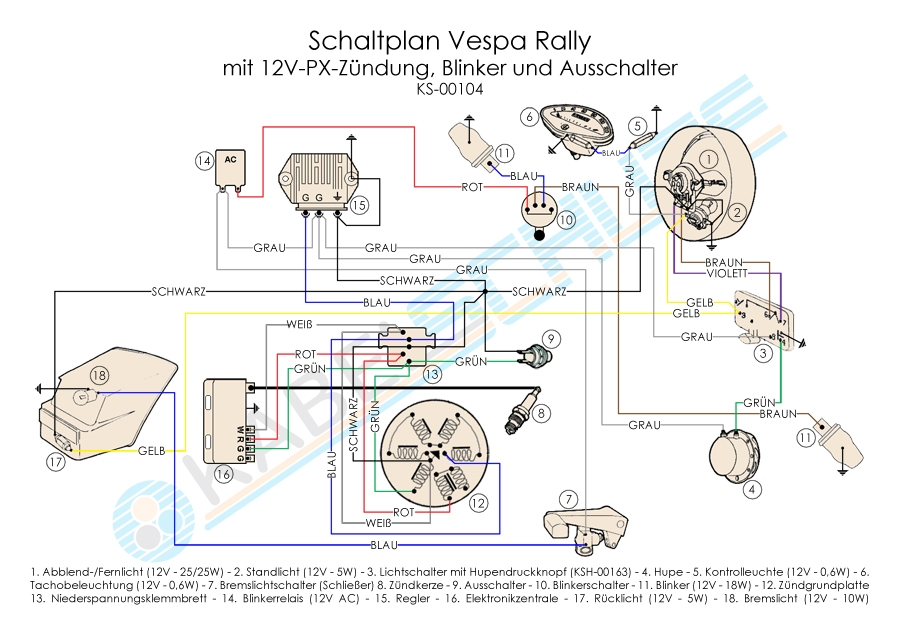 Wiring Harness Vespa Rally 200 Conversion on