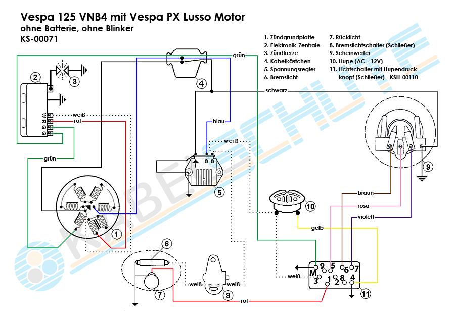 Wiring Harness Vespa 125 (VNB4) Conversion on
