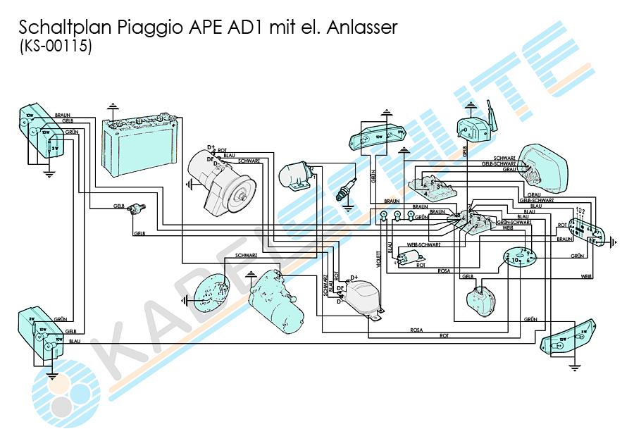 Kabelbaum Rückleuchten Ape AD1/AE1