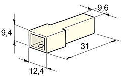 Flachsteckergehäuse 6,3 - 1-polig (10 Stk.)