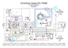 Kabelbaum Vespa PX alt mit SIP Vape DC (Rumpf)