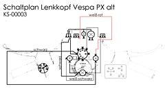 Kabelbaum Vespa PX alt (Lenkkopf)