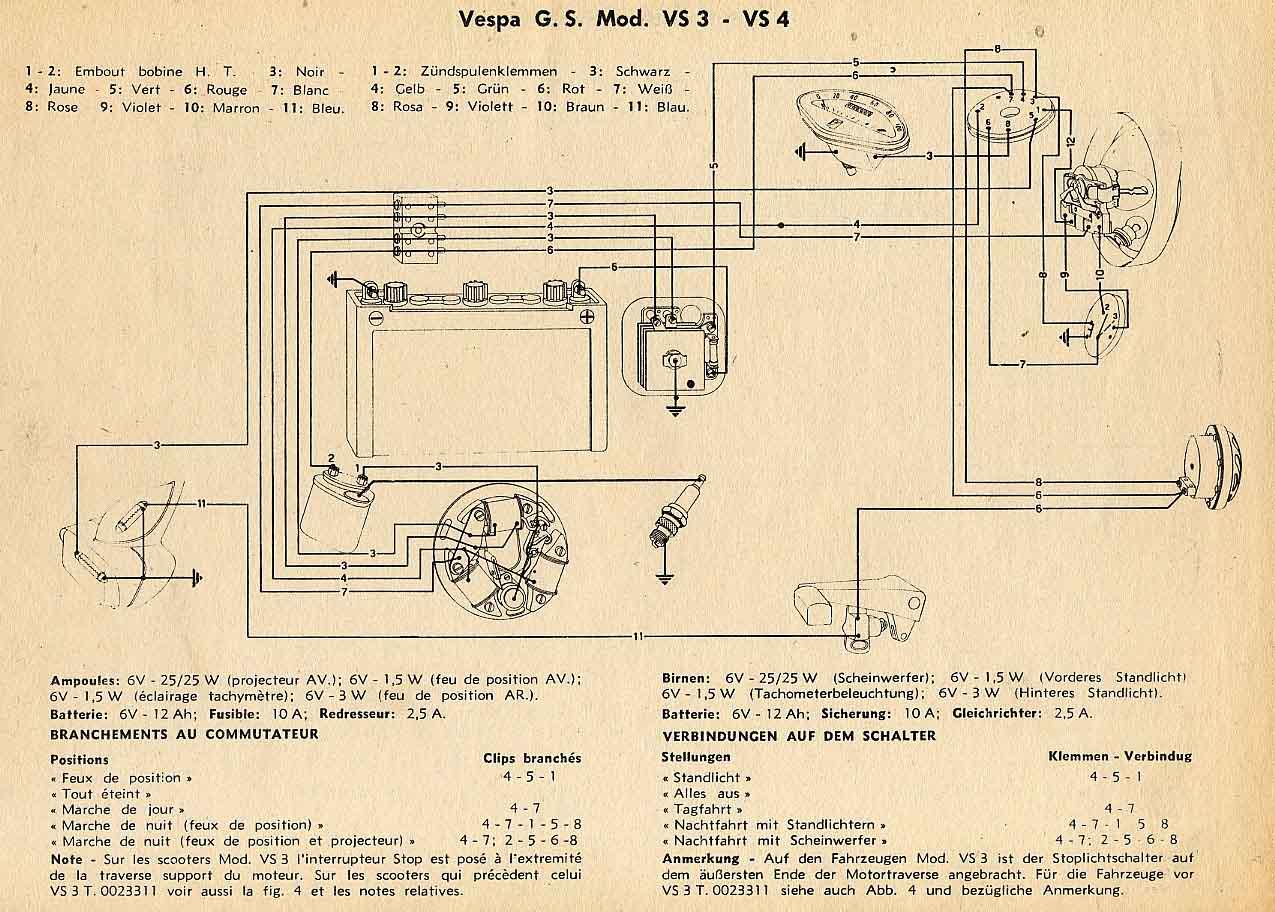 Vespa Gs150 Vs4 Vs5 Wiring Diagram - Gramban Mohammedshrine ... on vespa engine, vespa motor diagram, scooter battery wire diagram, vespa seats, electric scooter diagram, vespa clock, vespa accessories, vespa sprint wiring, vespa switch diagram, vespa frame diagram, vespa stator diagram, vespa 150 wiring, vespa parts diagram, vespa v50 wiring, vespa dimensions,